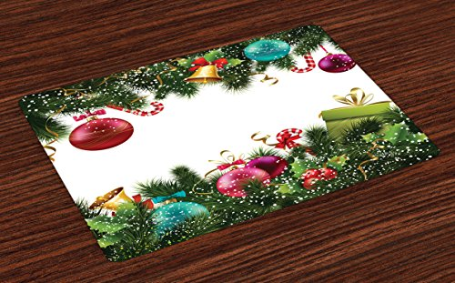 Ambesonne Christmas Place Mats Set of 4, Happy New Year Greeting Celebrations with Holly Garland Design, Washable Fabric Placemats for Dining Room Kitchen Table Decor, Maroon Green