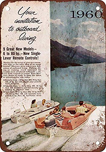 LMCR 1960 Mercury Outboard Motors Iron Poster Painting Tin Sign Vintage Wall Decor for Cafe Bar Pub Home