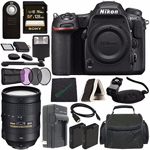 Cheap Nikon D500 DSLR Camera (Body Only) + Nikon AF-S NIKKOR 28-300mm f/3.5-5.6G ED VR Lens + Rechargable Li-Ion Battery + Home and Car External Charger + Sony 128GB SDXC Card + HDMI + Remote + Flash Bundle