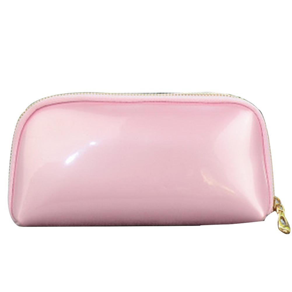 Femmes sac cosmétique pour sac à main en cuir verni étanche sac de maquillage petit sac de toilette pochette crayon noir (Noir) Newin Star