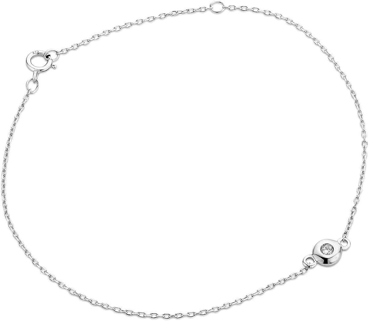 Miore - Pulsera de diamante para mujer, cadena de ancla con diamante somilitar de 0,03 ct, oro blanco de 9 quilates/375, longitud de 18,5 cm