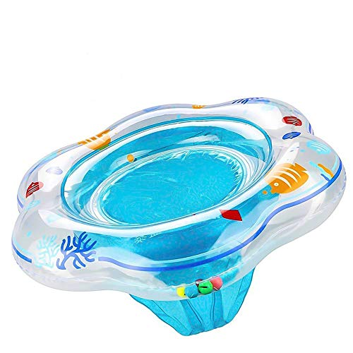 Swimming Pool Floats Baby Swimming Float with Double Airbag Inflatable Baby Swimming Ring with Float Seat for 6 Months-3 Years Children Pool Bathtub Outdoor Swimming Pool Toys (Blue)