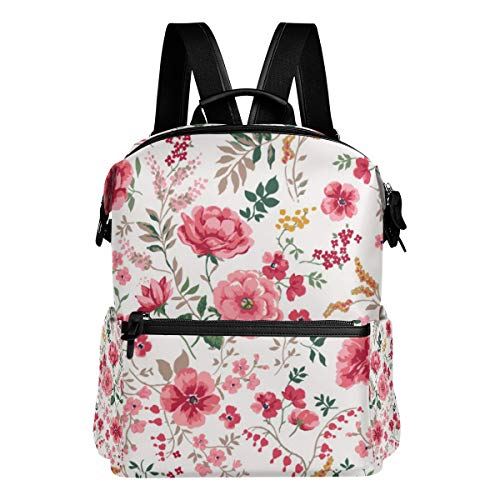 TARTINY Trendy Seamless Floral Pattern Vector Laptop Backpack Leather Strap School Bag Outdoor Travel Casual Daypack
