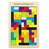 A Little Lemon Wooden Tangram Jigsaw Building Blocks Game Tetris Puzzle Toy, 40 Pieces