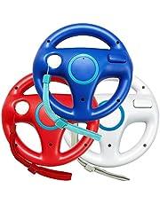 Jadebones 3pcs Blue White Red Mario Kart Steering Wheel With Wrist Strap for Nintendo Wii
