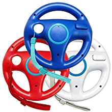 Jadebones 3pcs Blue White Red Mario Kart Steering Wheel With Wrist Strap for Nintendo Wii
