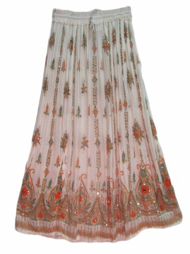 Yoga Trendz Womens Indian Sequin Crinkle Broomstick Gypsy Long Skirt (White/Multicolored)