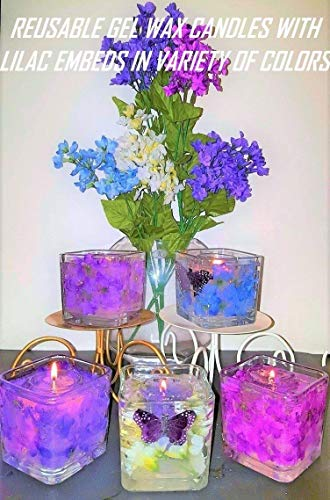 Gel Candle Embeds - Set of 2 Reusable Gel Wax Candles with Lilac & Butterfly Embeds in Variety of Colors
