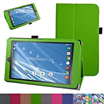 "Insignia NS-P08A7100 Case,Mama Mouth PU Leather Folio 2-folding Stand Cover with Stylus Holder for 8"" Insignia Flex NS-P08A7100 Andriod 6.0 Tablet 2016,Green"
