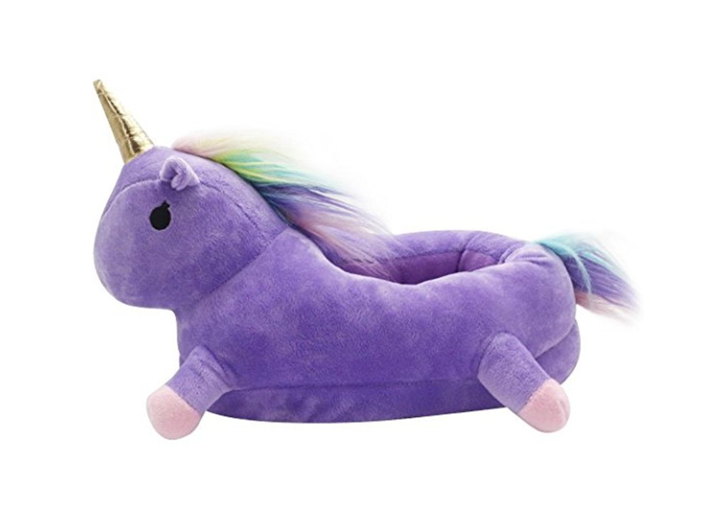 Unicorn Slipper Winter Warm Soft Plush Shoes for Home Indoor/Outdoor (Purple)