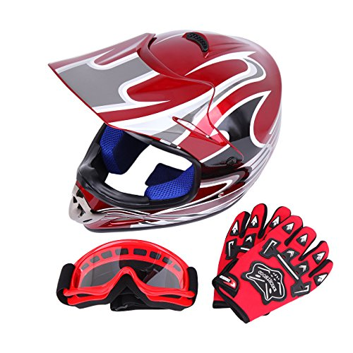 PanelTech DOT Youth Dirt Bike ATV Motocross Helmet + Goggles + Gloves (L, Red) Atv Motocross Motorcycle Helmet