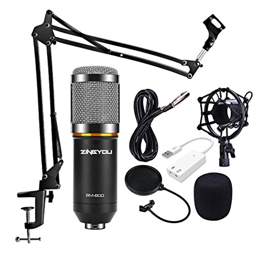 ZINGYOU Condenser Microphone Kit, BM-800 Mic Set with Adjustable Mic (Acoustic Guitar Condenser Mic)