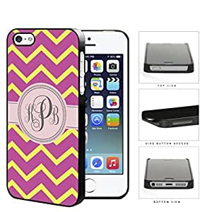 Pink And Yellow Chevron Monogram (Custom Initials) Hard Plastic Snap On Cell Phone Case Apple iPhone 5 5s