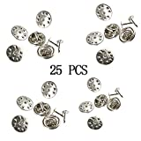 USHOT, 25 Pin Badge Buttterfly Backs Lapel Clutch Clasp Silver Plated TS55 EWF522Y