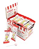 40Pcs Sweetened with Xylitol Lollipop Suckers,Strawberry Flavor,Kosher,Halal,Sugar-free,Promotes Oral Health,Supports Teeth Health,Candy Kids Party Birthday Carnivals Circus
