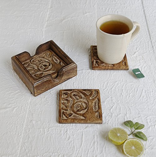 Handmade Set of 6 Wooden Coasters for Drink Tea Coffee Table Coaster with Stand (Tree Of Life) -