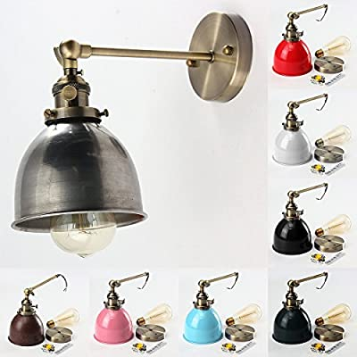 Jeteven Retro Vintage Antique Steel Swing Arm Wall Sconce Light Lamp Shade for E27 Bulbs