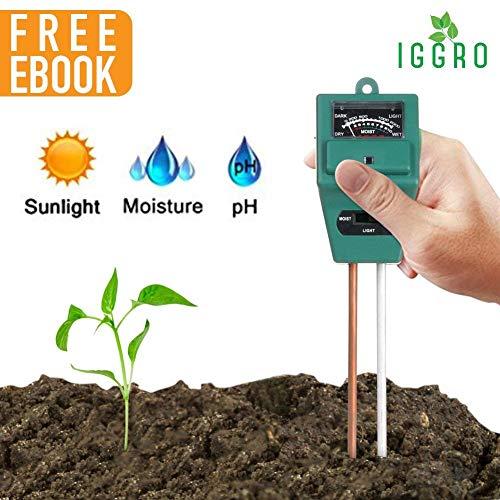 (IGGRO 3 in 1 Soil Testing Kit with Soil Moisture Meter Soil pH Meter Sunlight Sensor, Soil Tester for Garden Farm Lawn Promote Indoor Outdoor Plants Healthy Growth with Secret for Lush Garden Ebook)