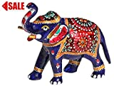 Limited Stock - 6.4' Trunk-Up Elephant Statue with White Metal Work - Collectible Animal Figurines Symbol of Good Luck Power Strength
