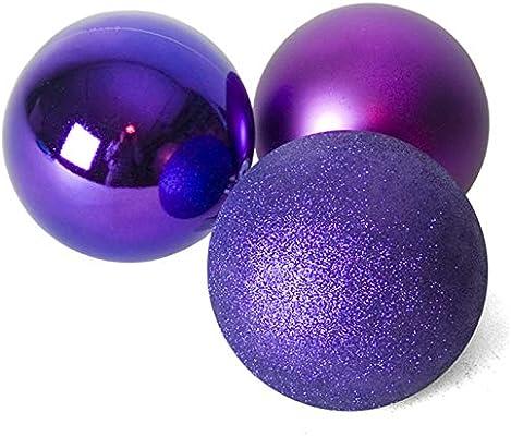 Gerimport Pack 3 Bolas de Navidad Púrpura 15cm: Amazon.es: Hogar