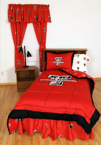 Texas Tech Red Raiders (3) Piece KING Size Reversible Comforter Set and set of Two (2) Matching Window Curtain Valances - Entire Set Includes: (1) KING Size Reversible Comforter, (2) Pillow Shams and (2) Matching Window Curtain Valances - Save Big By Bundling!