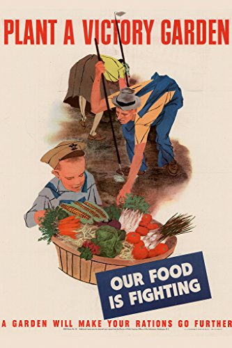 WPA War Propaganda Plant A Victory Garden Our Food Is Fighting A Garden Will Make Your Rations Go Further Poster 12x18