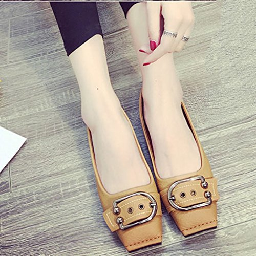 GIY Womens Casual Retro Square Toe Loafers Comfort Moccasin Flats Slip-On Buckle Dress Penny Loafer Shoe Khaki yipSEl7i8