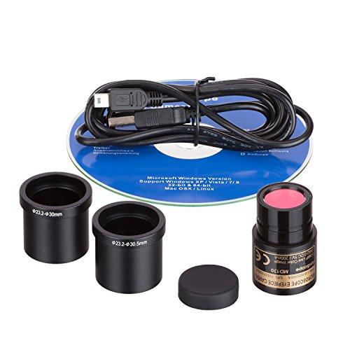 AmScope B120C-E1 Siedentopf Binocular Compound Microscope, 40X-2500X Magnification, LED Illumination, Abbe Condenser, Two-Layer Mechanical Stage, 1.3MP Camera and Software Windows XP/Vista/7/8/10