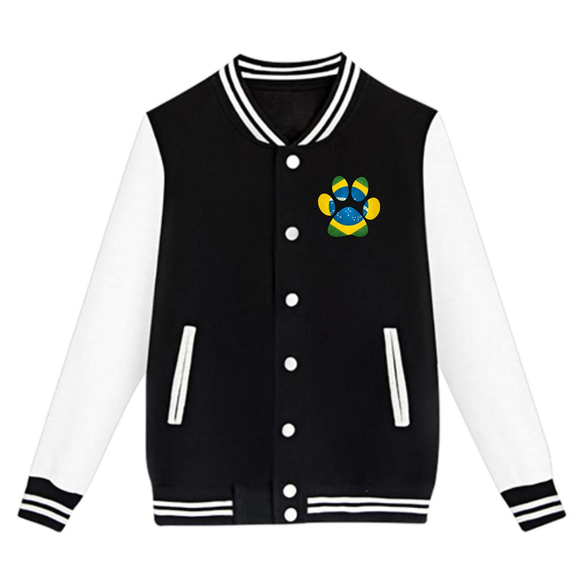 Unisex Teen Baseball Uniform Jacket Brazil Flag Dog Paw Coat Sweatshirt Outwear