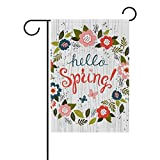 U LIFE Hello Spring Floral Flowers Leaves Garden Yard Flag Banner for Outside House Flower Pot Double Side Print 40 x 28 Inch