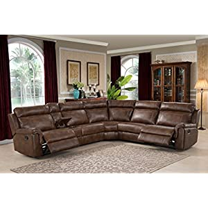 Christies Home Living CLARK-6PC-SECTIONAL 6-Piece Reclining Living Room Sectional with 3 Recliners Clark, Brown