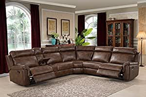 Christies Home Living 6-Piece Reclining Living Room Sectional with 3 Recliners, Clark Brown