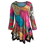 Women's Tunic Top - Jungle Animal Prints In Bright Colors - Large