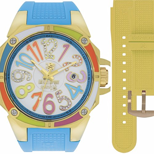 TechnoSport TS-200-Splash 1 Women's Gold with 2 Straps Blue & Neon Yellow