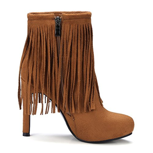 XZ Autumn and Winter Duantong Pointed Slim High Heel Tassel Female Boots Brown K0tPIsfP