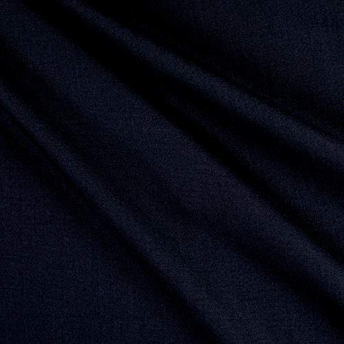 (Tuva Textiles Wool Blend Suiting Solid Gabardine Navy Blue Fabric Fabric by the Yard)