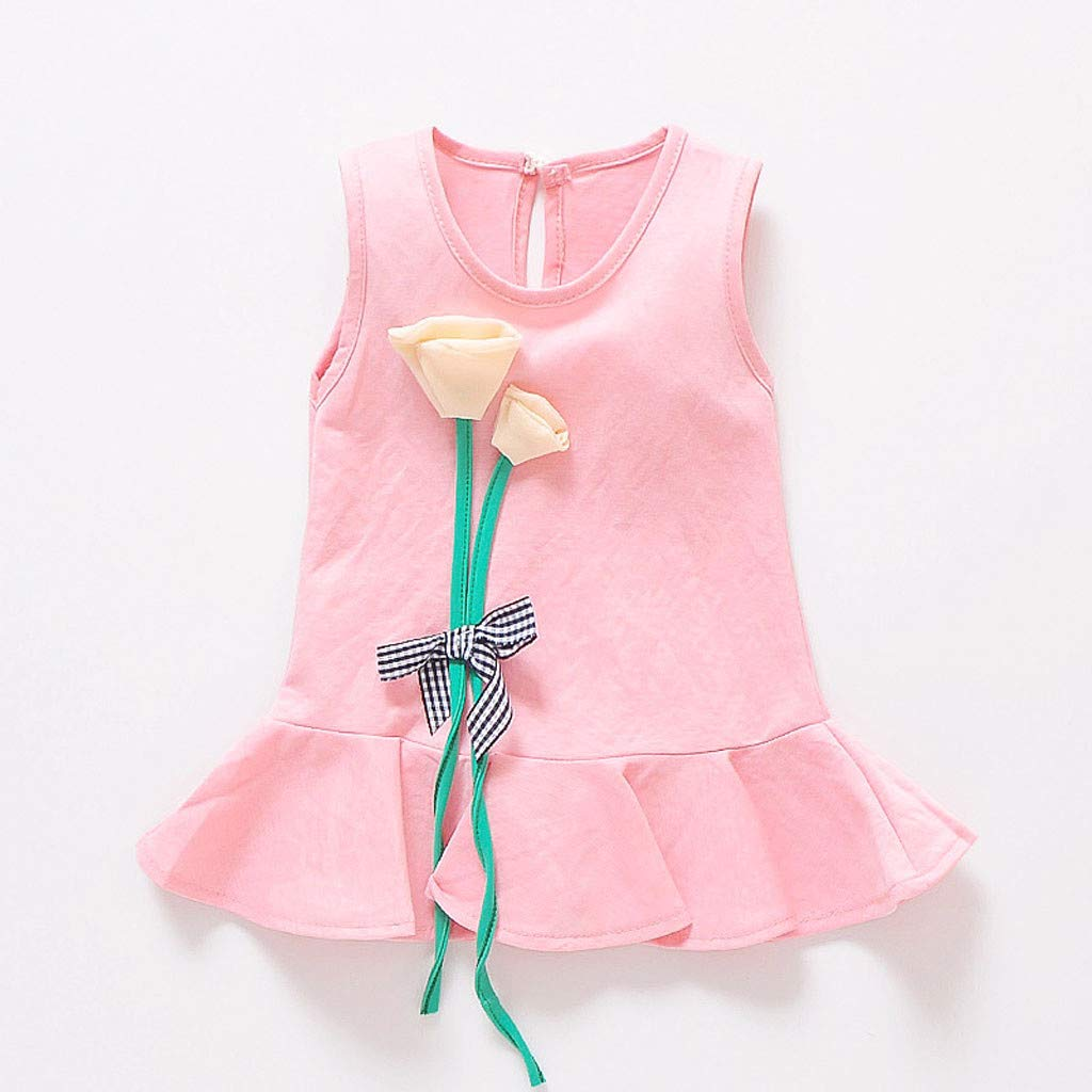 13fe30f47af4 Amazon.com  Suma-ma 0-2 Years Baby Girls Sleeveless Princess Dresses  Flowers Ruffles Hem Holiday Sundress  Clothing