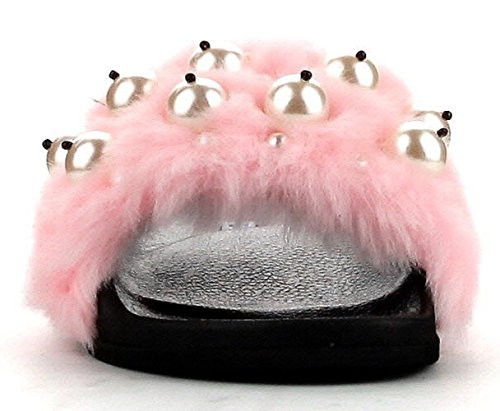 Cape Robbin Moira-12 Women Flip Flop Faux Fur Pearl Slide Slip On Flat Sandal Shoe Slipper Pink Pink 7WqqerHty