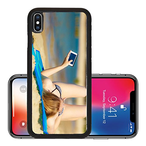 Target Tanning - Liili Premium Apple iPhone X Aluminum Backplate Bumper Snap Case Summer vacation Sexy girl in bikini sunbathing tanning on the beach Young woman relaxing with mobile phone on the sea coast Summerti