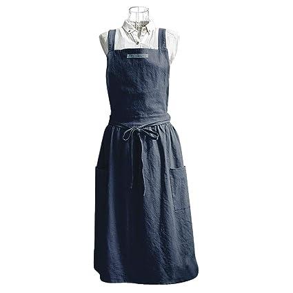 Delantal para mujer nórdico, vestido plisado para adultos, correa cruzada, delantal, cafetería