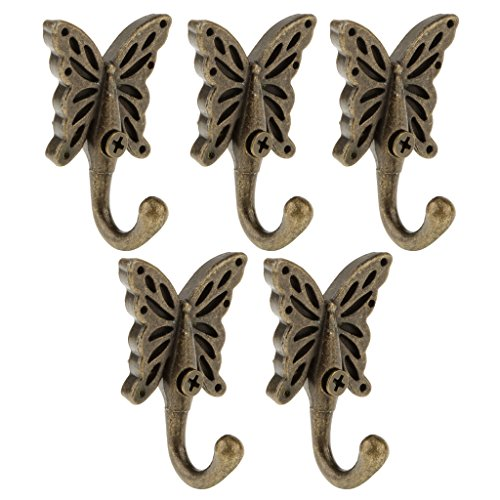 MagiDeal Antique Butterfly Wall Mounted Hooks Coat Robe Clothes Towel Hangers Pack of 6