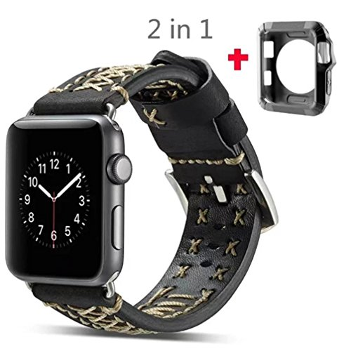 For Apple Watch Series 1/2/3 42MM ,[Leather Watch Band] --Quick Release Replacement Classic Buckle Vintage TPU Frame Wrist Band Watch Band Fashion Sports Bracelet Strap Women And Men (0.5 Case Sampler)