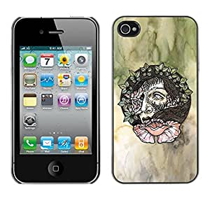 MobileHut / Apple Iphone 4 / 4S / Wreath Artistic Art Green Watercolor / Delgado Negro Plástico caso cubierta Shell Armor Funda Case Cover