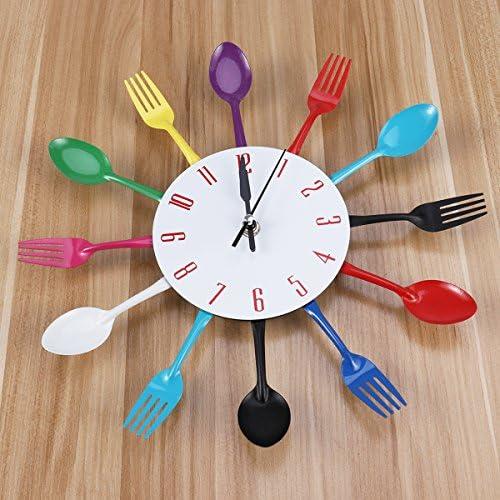 Multicolore Forchetta Cucchiaio  Cucina Posate Orologio Da Parete Arredo Casa