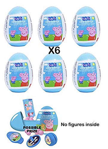 PEPPA PIG Party SURPRISE EGGS Plastic My Birth Day RANDOM FIGURE INSIDE FOR BOY AND GIRL 6 eggs