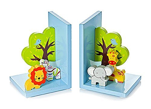 (3D Safari Themed Wooden Children's Animal Bookends for Boys or Girls Nursery or Bedroom)