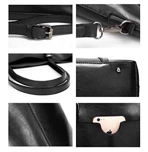 0eacec3aecd40 BAISHILIN Women s Vintage Style Soft Leather Work Tote Large Shoulder Bag  (Black)