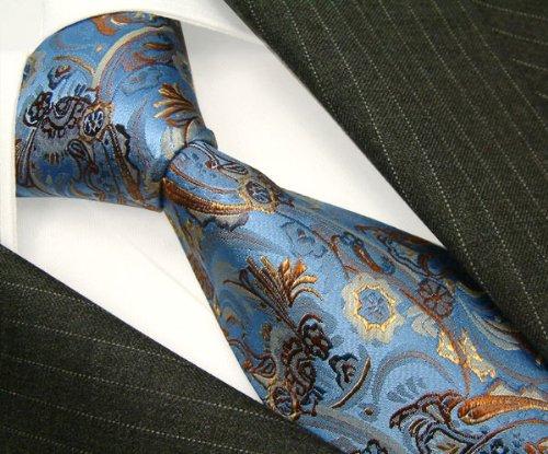 LORENZO CANA Italian Pure Silk Tie Blue Burlywood Paisley Woven Necktie 36012 by LORENZO CANA (Image #2)