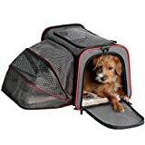 Petsfit Carrier Expandable Cozy Cat Carrier, Expandable Pet Carrier, Pet Carrier Most Airline Approved, Soft Sided Pet Carrier Grey 19x12x12 inch