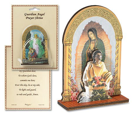 4 Inch Wood Spanish Icon Our Lady of Guadalupe Devotional Standing Prayer Shrine